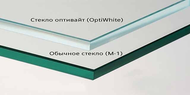 Осветленное и обычное стекло